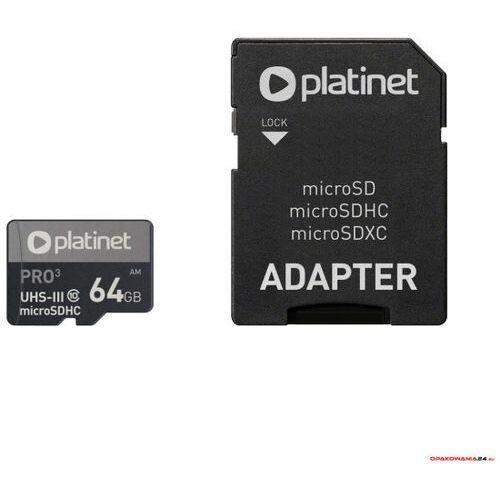 Karta pamięci Micro SDhc + adapter 64GB class10 UIII A1 90MB/s Platinet PMMSDX64UIII