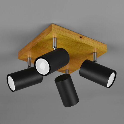 Trio Marley 812400432 plafon lampa sufitowa 4x35W GU10 czarny mat/drewno, kolor Czarny