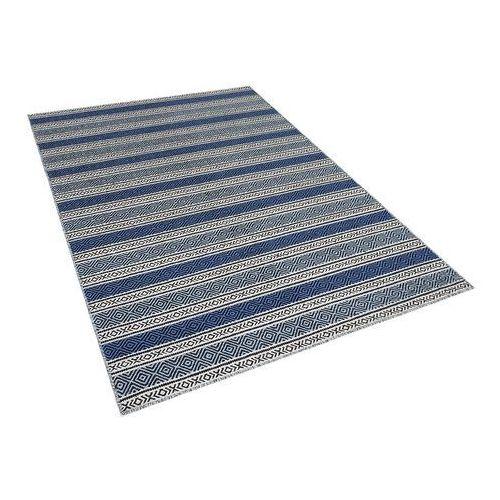 Dywan niebiesko-szary - 160x230 cm - wełna - chodnik - kilim - patnos marki Beliani
