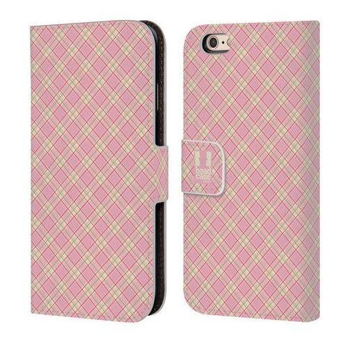 Etui portfel na telefon - Plaid Pattern Light Pink Yellow