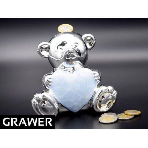 Posrebrzana skarbonka miś z sercem błękit Pamiątka na Chrzest Roczek GRAWER ()