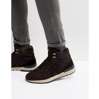 Armani jeans logo lace up boots in brown/black - brown