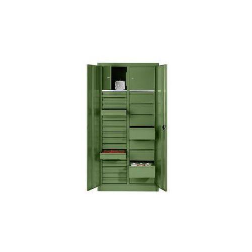 Szafka na materiały z blachy stalowej,2 półki, 24 szuflady, 2 schowki
