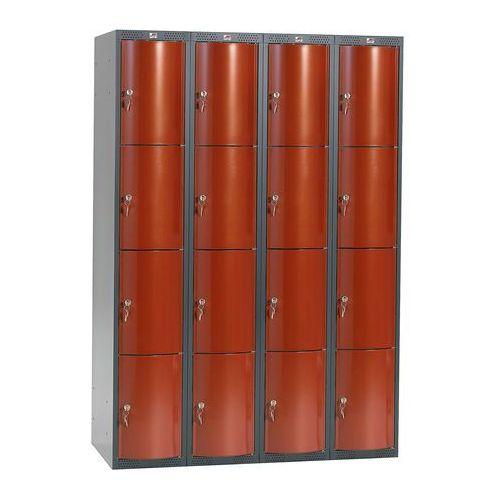 Metalowa szafa ubraniowa curve, 4x4 drzwi, 1740x1200x550 mm, czerwony marki Aj produkty