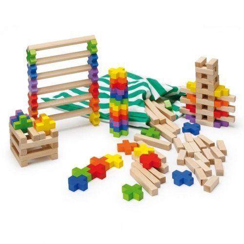 Duży drewniany zestaw klocków - zabawki dla dzieci