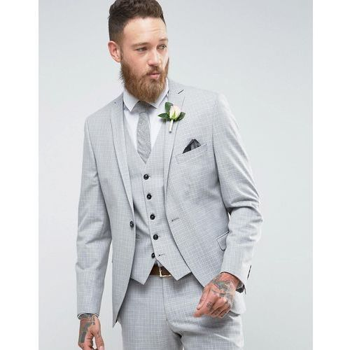 Selected Homme Skinny Wedding Suit Jacket In Cross Hatch - Grey, kolor szary