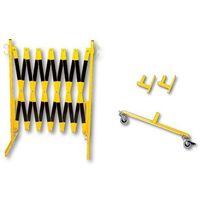 Krata nożycowa, mocowanie do ściany, 2 rolki, żółty / czarny, dł. maks. 4000 mm. marki Unbekannt