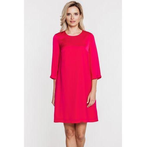 Karmazynowa sukienka z rozszerzanymi rękawami -  marki Bialcon
