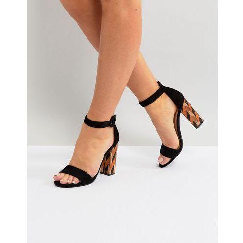 Glamorous Block Heeled Sandal With Patterned Block in Black - Black, kolor czarny