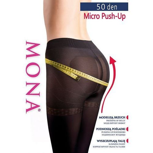 Mona Rajstopy micro push-up 50 den 2-4 3-m, czarny/nero. mona, 2-s, 3-m, 4-l