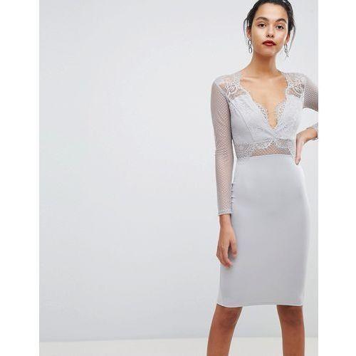 Ax Paris Long Sleeved Waisted Midi Bodycon Dress - Grey, kolor szary