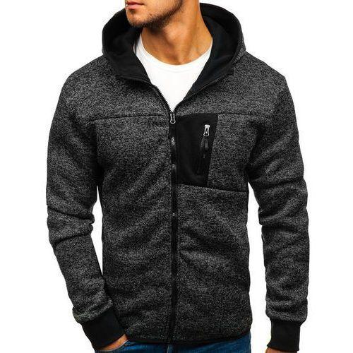 Bluza męska z kapturem rozpinana czarna Denley AK39