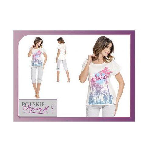 Piżama damska ALOHA: śmietankowa biel, kolor biały