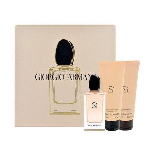 Giorgio Armani Si zestaw Edp 50ml + 75ml Body lotion + 75ml Shower gel dla kobiet, ELN35818