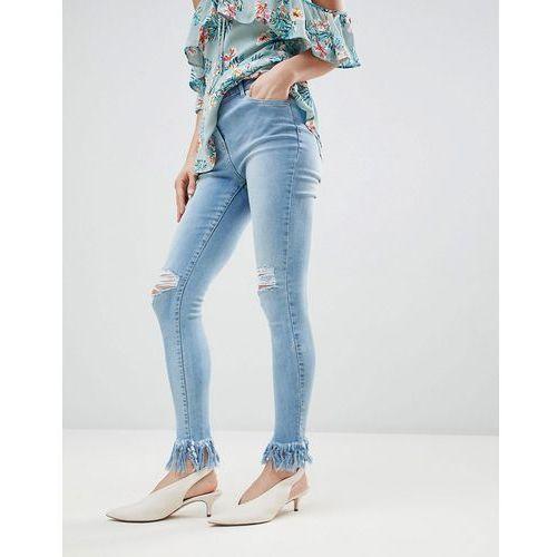 Parisian Frayed Hem Skinny Jeans - Blue