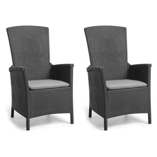 rozkładane krzesła ogrodowe vermont, 2 szt., grafitowe marki Allibert