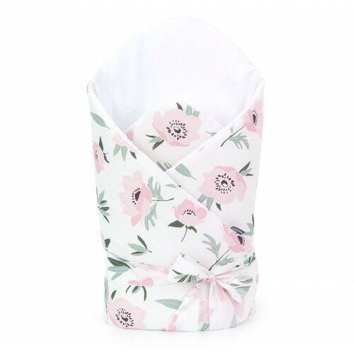 Mamo-tato Bawełniany rożek niemowlęcy wiązany - kwiaty na ecru