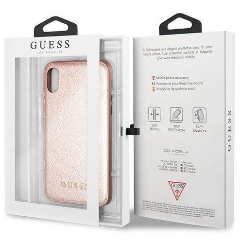 Guess iridescent - etui iphone x (różowo złoty)