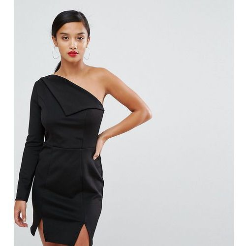 Asos petite double split one shoulder mini dress - black