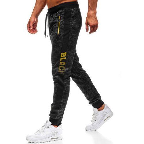 Spodnie męskie dresowe joggery czarne Denley HX069, dresowe