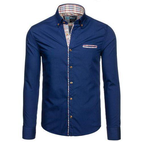 Granatowa koszula męska elegancka z długim rękawem Bolf 5793 - GRANATOWY, BOLF