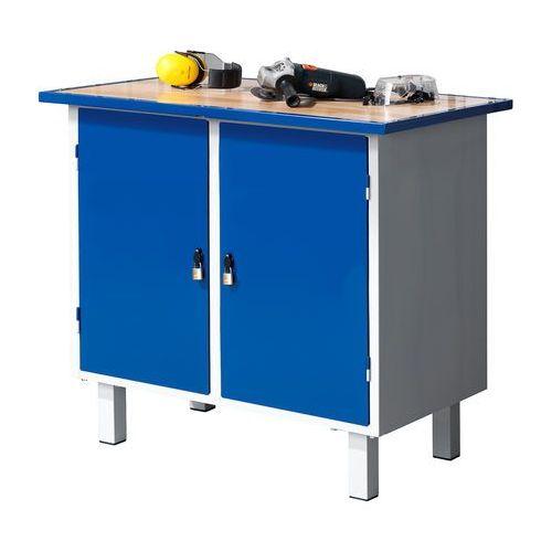Stół warsztatowy FLEX, stacjonarny, 2 szafki, 990x595x900 mm, 210643