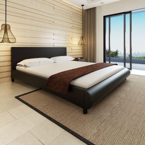 Vidaxl  rama łóżka z zaokrąglonym podnóżkiem 180x200 cm czarna sztuczna skóra (8718475932338)