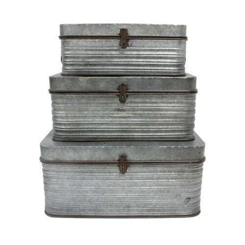 HKliving Zestaw 3 metalowych pudełek do przechowywania AOA9945