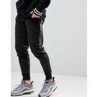 Boohooman skinny fit cargo joggers in black - black