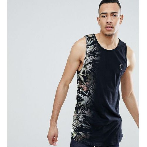 Religion tall longline vest with curved hem and fade floral print - black