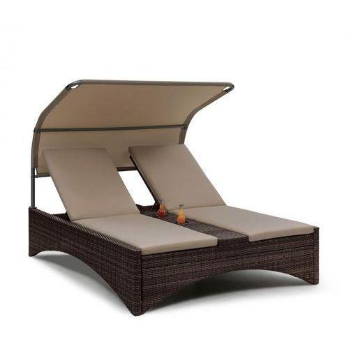 Blumfeldt eremitage double lounger, leżak 2-osobowy, aluminium/rattan brązowy (4060656151187)