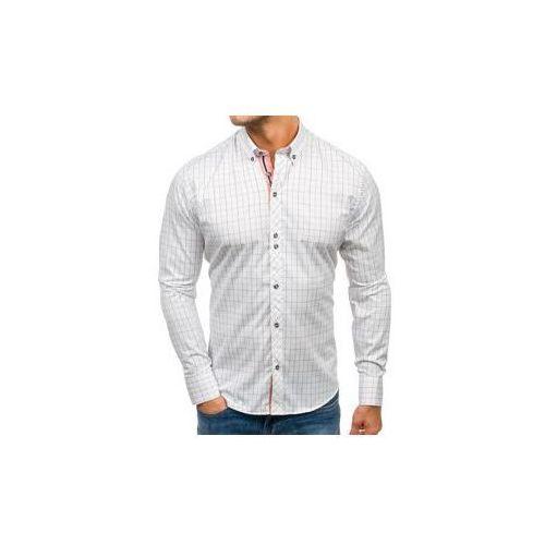 Bolf Koszula męska w kratę z długim rękawem biało-czarna 8803