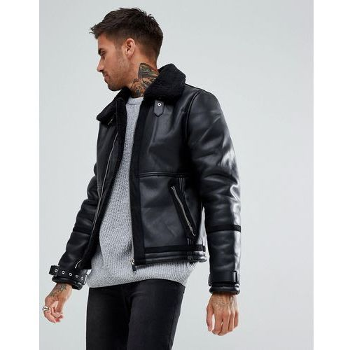 River Island Aviator Jacket with Faux Fur Lining In Black - Black