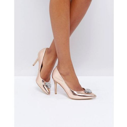 New look  embellished pointed toe heeled shoe - gold