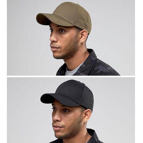 Asos 2 pack baseball cap in black and khaki save - multi