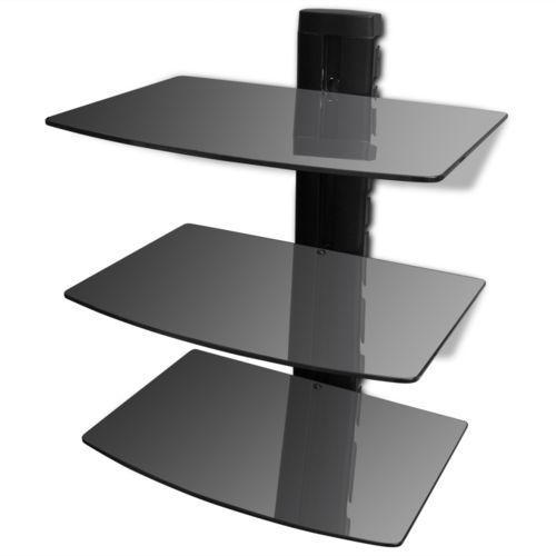 Vidaxl  szklana, trzypoziomowa półeczka na dvd, do montażu ścianie czarna