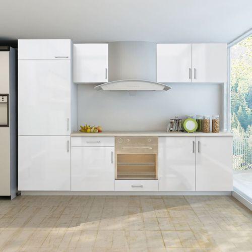 Zestaw mebli kuchennych na wysoki połysk, 7 części, biały