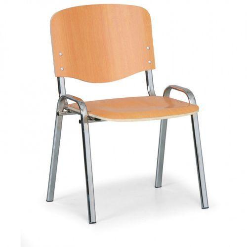 B2b partner Drewniane krzesło iso, czereśnia, kolor konstrucji chrom, nośność 120 kg