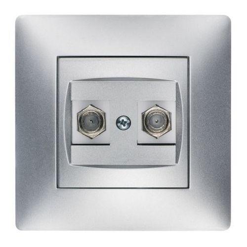 Elektroplast volante gniazdo 2xtv typ f-f srebrny 2687-06 (5902012986271)