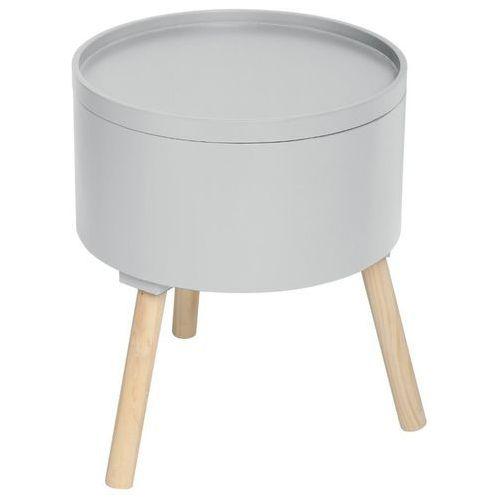 Nowoczesny stolik ze schowkiem, OSHI, 2w1, okrągły, 38 x 38 x 45 cm, jasno-szary