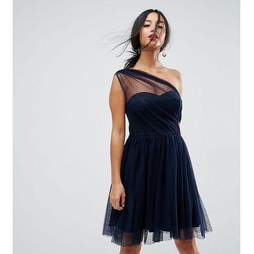 ASOS PETITE Dobby Mesh One Shoulder Mini Prom Dress - Navy