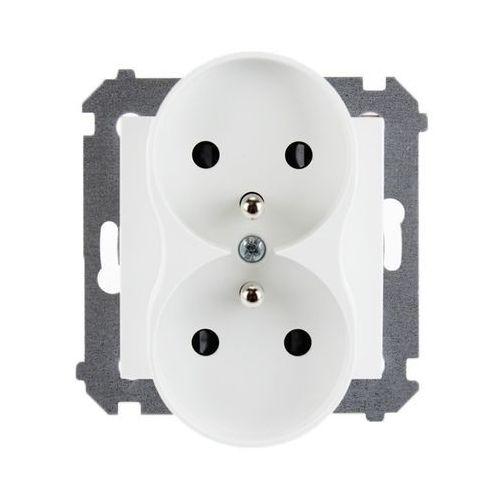 Kontakt Simon 54 Premium Gniazdo wtyczkowe podwójne z uziemieniem z przesłonami torów prądowych - do ramek Premium (moduł) 16A 250V, zaciski śrubowe, biały DGZ2MZ.01/11, DGZ2MZ.01/11