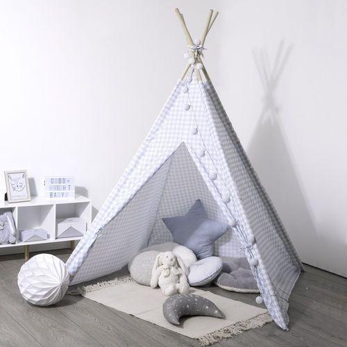 Namiot indiański dla dzieci w kratę, namiot dziecięcy biało-niebieski, namiot dla dzieci do pokoju, namiocik dla dzieci, tipi marki Atmosphera créateur d'intérieur