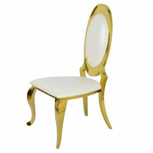 Krzesło glamour Victoria Gold White Eco - złote krzesło tapicerowane ekoskóra, kolor biały