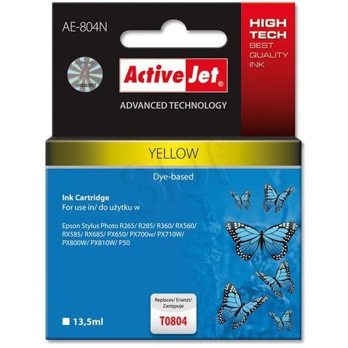 Tusz ActiveJet AE-804N (AE-804) Yellow do drukarki Epson - zamiennik Epson T0804, kolor Yellow