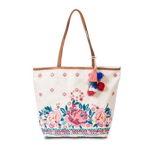 Torba shopper plażowa z haftem bonprix cielisto-różowo-turkusowy