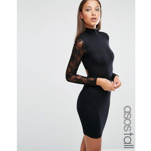 ASOS TALL Lace Long Sleeve Cut Out Back Mini Dress - Black, kolor czarny