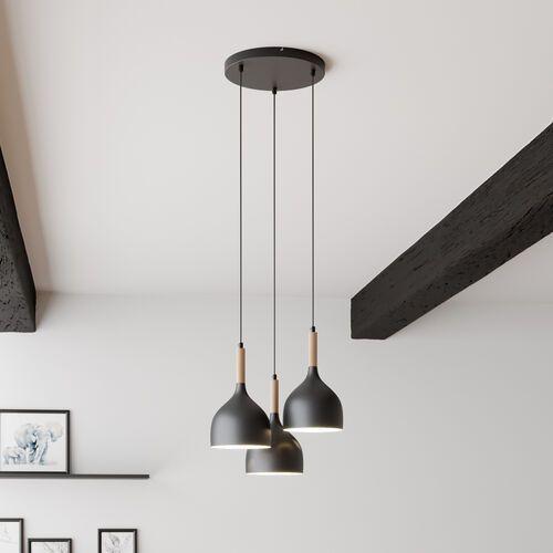 Luminex Noak wood 1192 lampa wisząca zwis 3x60W E27 czarny / brązowy (5907565911923)