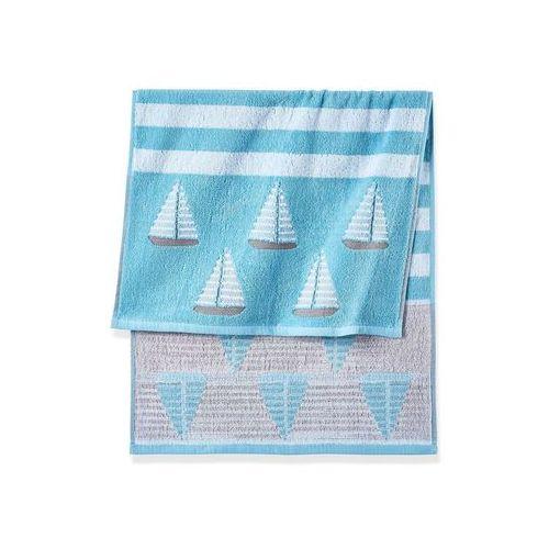 Bonprix Ręczniki z motywem żaglówek niebieski