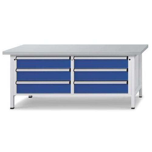 Stół warsztatowy z szufladami XL/XXL, szer. 2000 mm, 6 szuflad 180 mm, blat z ok